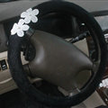 Floral Bud Silk Bowknot Car Steering Wheel Covers Velvet 15 Inch 38CM - Black