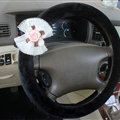 Floral Bud Silk Bowknot Steering Wheel Covers Velvet 15 Inch 38CM - Black