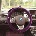 Flower Diamond Car Steering Wheel Wrap Velvet 15 Inch 38CM - Purple
