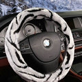 Fluffy Auto Steering Wheel Covers Velvet 15 Inch 38CM - Grey