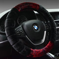 Fluffy Auto Steering Wheel Wrap Velvet 15 Inch 38CM - Black
