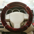 Fluffy Diamond Car Steering Wheel Wrap Velvet 15 Inch 38CM - Red