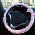Lace Bowknot Car Steering Wheel Cover Bud Silk Fiber Cloth 15 Inch 38CM - Pink