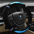 Luxury Diamond Carbon Fiber Skin Car Steering Wheel Wrap Velvet 15 Inch 38CM - Blue