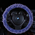 Luxury Floral Lace Car Steering Wheel Cover Bud Silk Fiber Cloth 15 Inch 38CM - Purple