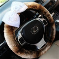 Pearl Bud Silk Bowknot Car Steering Wheel Cover Velvet 15 Inch 38CM - Brown