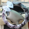 Pearl Bud Silk Bowknot Car Steering Wheel Cover Velvet 15 Inch 38CM - Purple