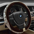 Personalized Auto Steering Wheel Covers Velvet 15 Inch 38CM - Brown