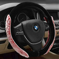 Personalized Auto Steering Wheel Wrap Velvet 15 Inch 38CM - Red