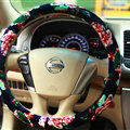 Pretty Flower Car Steering Wheel Covers Velvet 14 Inch 36CM - Black