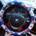 Pretty Flower Dot Car Steering Wheel Wrap PU Leather 15 Inch 38CM - Blue