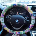 Pretty Flower Dot Car Steering Wheel Wrap PU Leather 15 Inch 38CM - Color