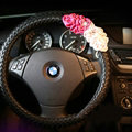 Pretty Flower Knitting Car Steering Wheel Wrap PU Leather 15 Inch 38CM - Black
