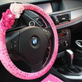 Pretty Flower Knitting Car Steering Wheel Wrap PU Leather 15 Inch 38CM - Pink