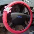 Pretty Rhododendron Car Steering Wheel Wrap PU Leather 15 Inch 38CM - Red