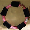Quality Flower Pink PU Leather Car Steering Wheel Covers Velvet 15 Inch 38CM - Black