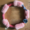 Quality Flower Pink PU Leather Car Steering Wheel Covers Velvet 15 Inch 38CM - Pink