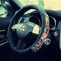 Quality Rhinestone Car Steering Wheel Cover Genuine Leather 15 Inch 38CM - Black