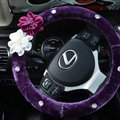 Rose Flower Rhinestone Car Steering Wheel Covers Velvet 15 Inch 38CM - Purple