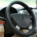 Snake Print Car Steering Wheel Cover Genuine Leather 15 Inch 38CM - Black