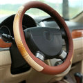 Snake Print Car Steering Wheel Cover Genuine Leather 15 Inch 38CM - Red