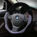 Splicing Auto Steering Wheel Wrap Velvet 15 Inch 38CM - Black Grey