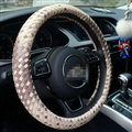 Unique Knitting Car Steering Wheel Wrap Genuine Leather 15 Inch 38CM - Beige