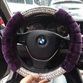 Unique Rhinestone Car Steering Wheel Covers Velvet 15 Inch 38CM - Purple
