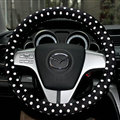 Cheapest Polka Dot Auto Steering Wheel Wrap Velvet 15 Inch 38CM - Black White
