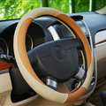 Classic Auto Steering Wheel Covers Sheepskin Leather 15 Inch 38CM - Orange Beige