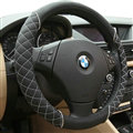 Classic Auto Steering Wheel Wrap Sheepskin Leather 15 Inch 38CM - Black