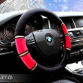 Classic Car Steering Wheel Wrap Velvet 15 Inch 38CM - Black Red