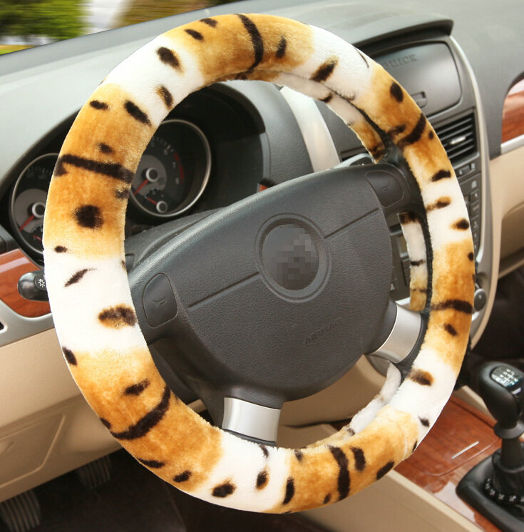 buy wholesale classic cow print car steering wheel covers velvet 15 inch 38cm yellow from. Black Bedroom Furniture Sets. Home Design Ideas