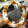 Classic Cow Print Car Steering Wheel Covers Velvet 15 Inch 38CM - Yellow
