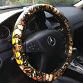 Colorful Butterfly Auto Steering Wheel Wrap PU Leather 15 Inch 38CM - Yellow