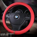 Colorful Car Steering Wheel Covers Sheepskin Leather 15 Inch 38CM - Red