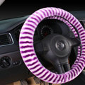 Colorful Zebra Print Car Steering Wheel Wrap Velvet 15 Inch 38CM - White Purple