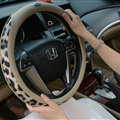 Cool Auto Steering Wheel Wrap Snake Print Genuine Leather 15 Inch 38CM - Beige