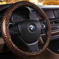 Cool Auto Steering Wheel Wrap Snake Print PU Leather 15 Inch 38CM - Gold