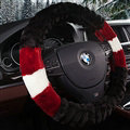 Cooling Car Steering Wheel Wrap Velvet 15 Inch 38CM - Black