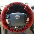 Cooling Zebra Print Car Steering Wheel Wrap Velvet 15 Inch 38CM - Red