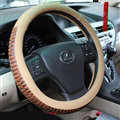 Discount Snake Print Auto Steering Wheel Covers PU Leather 15 Inch 38CM - Beige