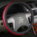 Discount Snake Print Auto Steering Wheel Covers PU Leather 15 Inch 38CM - Black