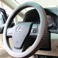 Discount Snake Print Auto Steering Wheel Covers PU Leather 15 Inch 38CM - Grey