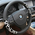 Elegant Leopard Print Car Steering Wheel Covers PU Leather 15 Inch 38CM - Silver