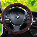 Exquisite Beaded Car Steering Wheel Cover 15 Inch 38CM - Red Beige