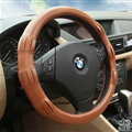 Exquisite Car Steering Wheel Covers Sheepskin Leather 15 Inch 38CM - Brown