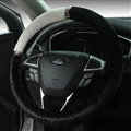 Exquisite Diamond Auto Steering Wheel Wrap Velvet 15 Inch 38CM - Black