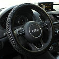 Exquisite Knitting Car Steering Wheel Covers Sheepskin Leather 15 Inch 38CM - Black