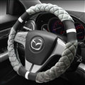 Exquisite Lozenge Pattern Auto Steering Wheel Wrap Velvet 15 Inch 38CM - Grey